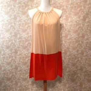 Amour Vert Joan Color Block Silk Dress, sz Lg